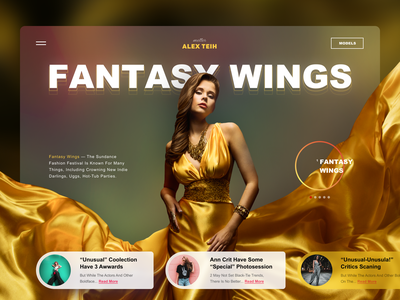 Fantasy Wings collection promo blur fashion design yellow model fashion fullpage promo concept website web ui matid design