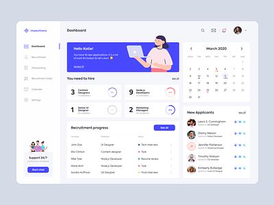 Recruitment Dashboard - UI ux resource humanity human resources hr gray blue recruitment dashboard ui design