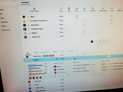Projects manage list ui design interface project crm management list expend panel icons flat clean
