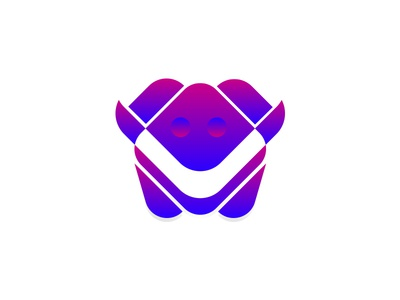 Minimalist Monster :) vector gradient logo icon colorful monster