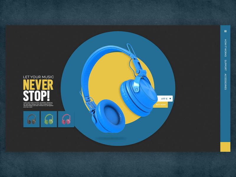 Headset Landing Page speaker buy now sell music blue mainpage showcase landing headset