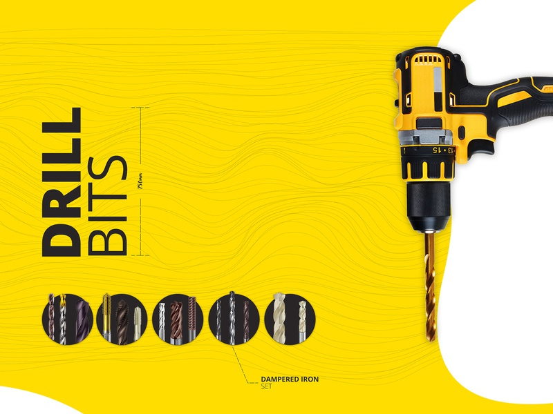 Drill Bits - One Page Web Design machine style pattern trend 2018 drill bits iron metal construction drill simple design yellow