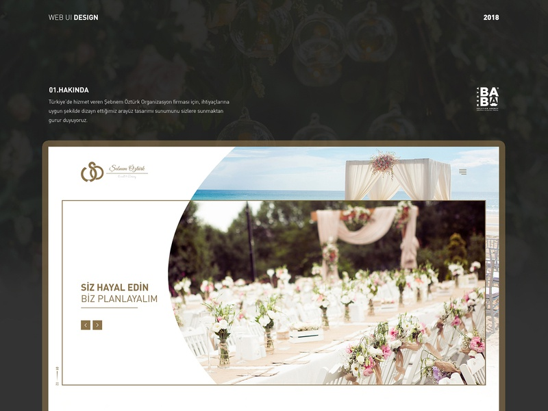 Organization Company Web UI Design slider white gold dark corporate wedding company organization