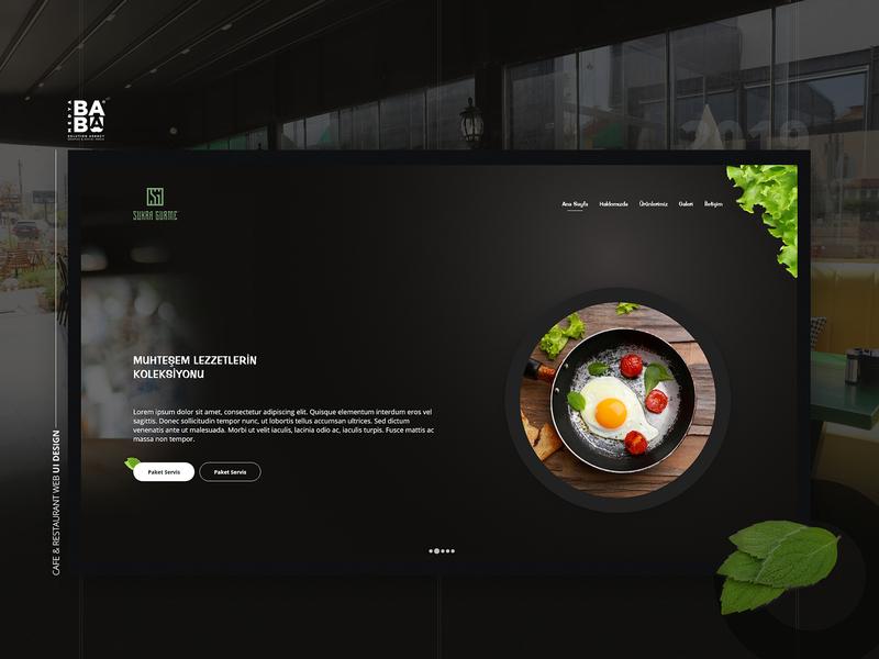 Cafe & Restaurant Web UI Design - Darker Theme milkshake coctail food green vegetable darker restaurant cafe