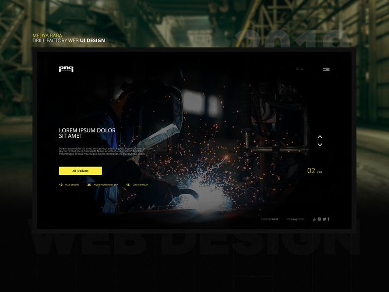 Factory Website UI Design slider simple dark black yellow ui ui design web design factory drill bits drill
