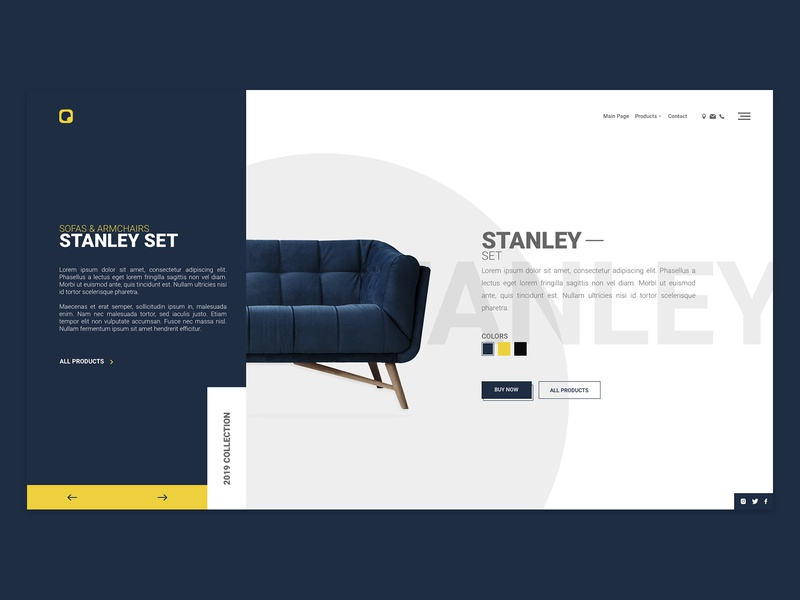 Sofas & Armchairs Landing Page products slider responsive 2019 2019 collection button css html web furniture roboto yellow white blue ui design web template landing page armchair sofa sofas