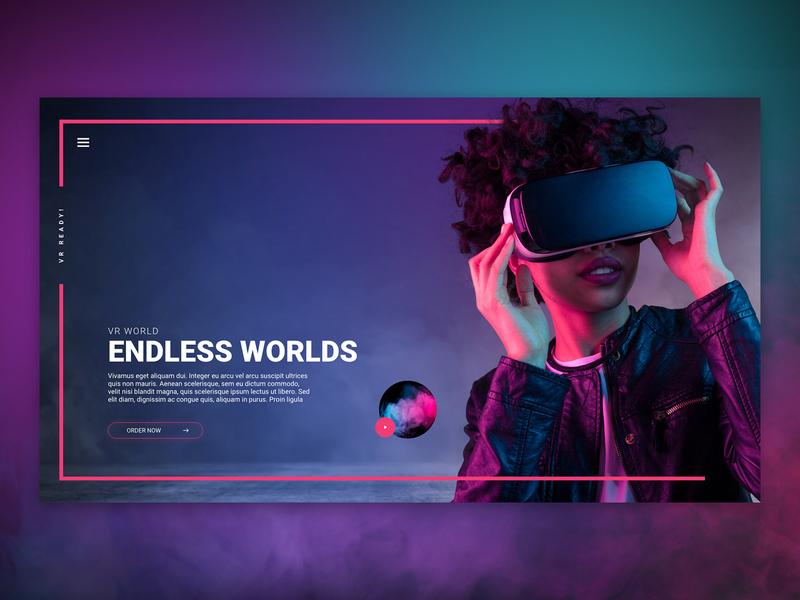VR Landing Page Design smoke border pink woman virtual reality virtual reality video best gradient web design landing page technology vr
