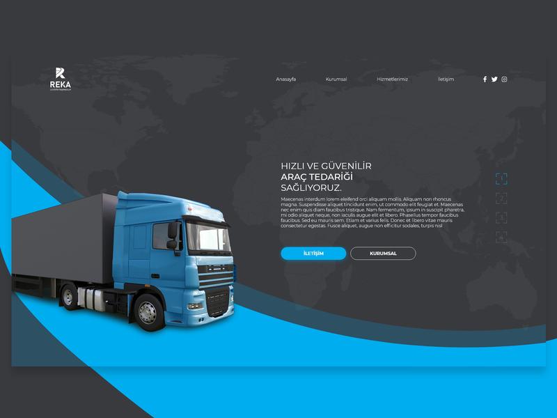 Transport Company Website Design logistics transportation earth logistic blue truck landing page website web design webdesign company transport
