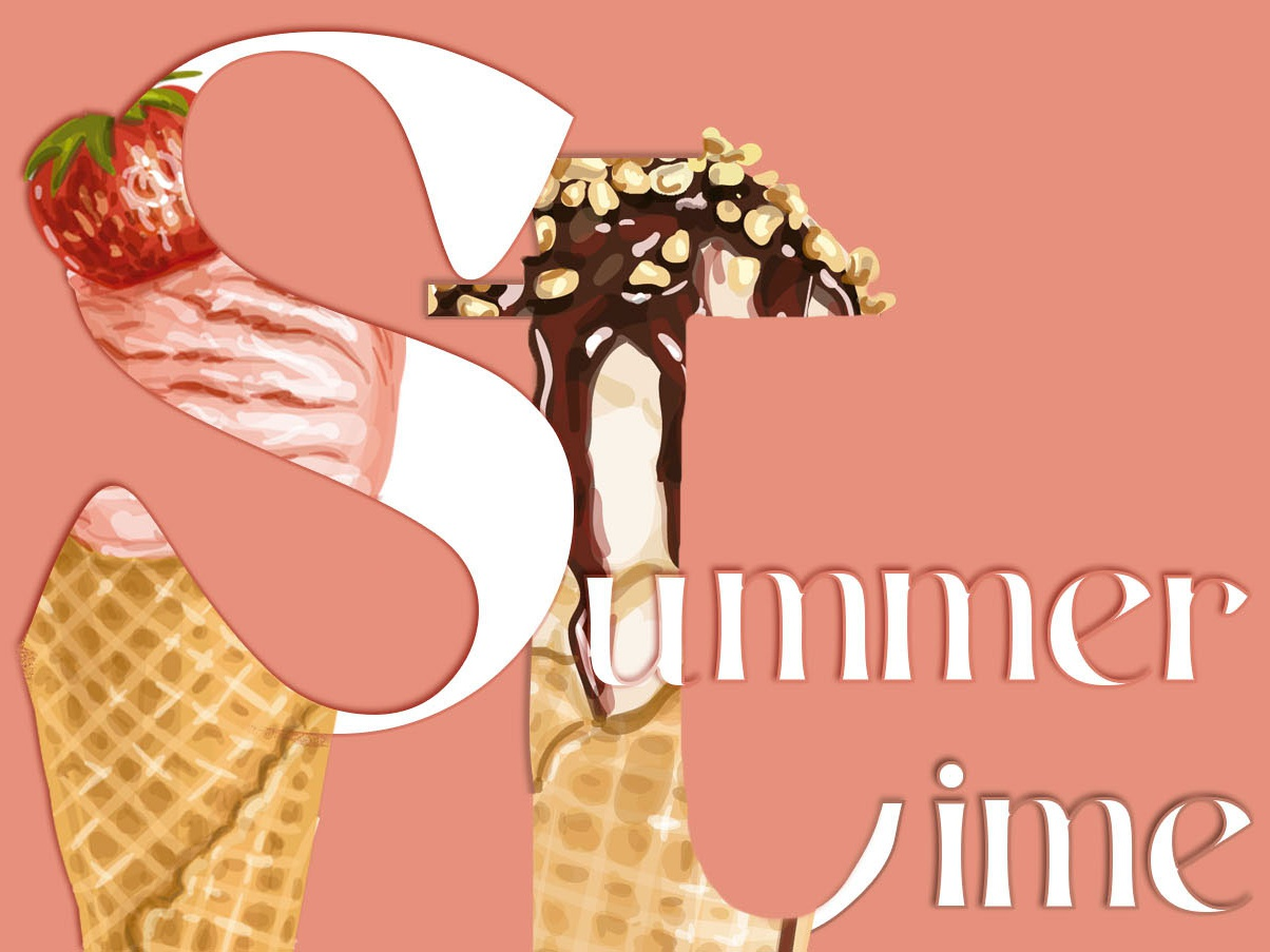 Waiting for the | Typographic illustration icecream summer flat illustrator cc vector design typography illustration