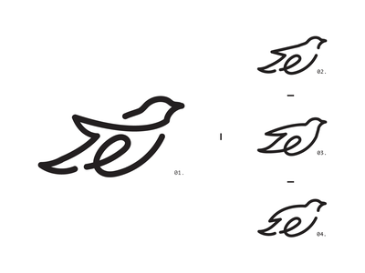 e letter fly lineart logodesign graphic bird travel blackletter minimal black line symbol e