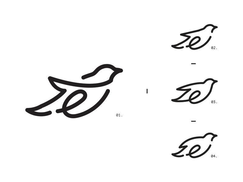 e letter fly lineart logodesign graphic bird travel blackletter minimal black line symbol e