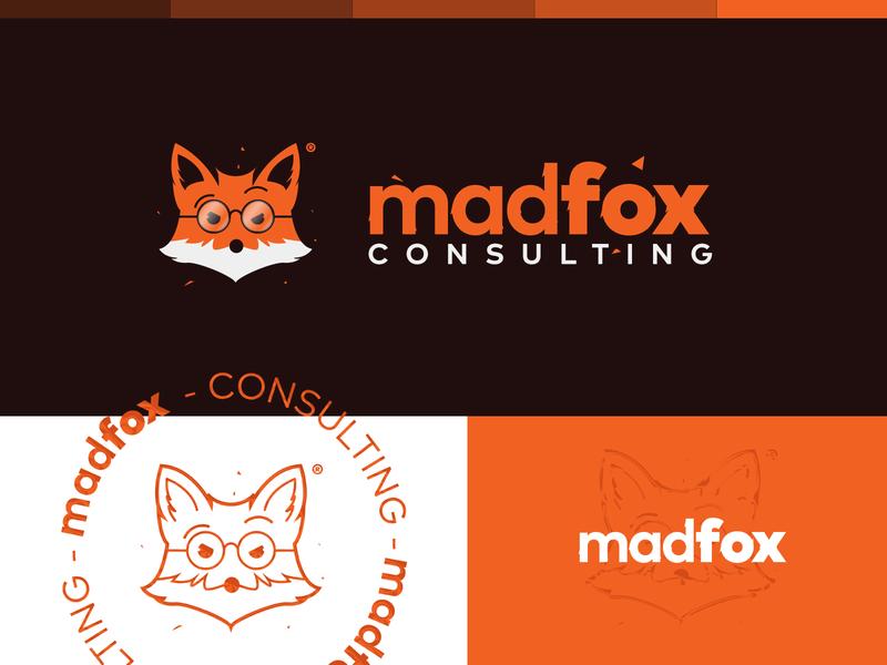 madfox logo+symbol icon symbol typography fox vector design branding illustration logo