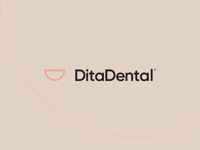 DitaDental icon typography vector branding design minimal black symbol logo smile dental