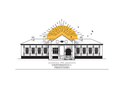 University of Pristina 1970 line typography design logo print minimal shade brushes vector illustraion