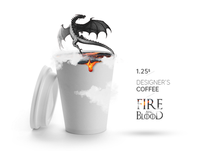 Designer's Coffee paper cup dragon designer deadline monday blood fire coffee