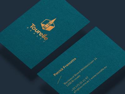 Tourelle Business Cards copper typo line texture paper hotfoil print business-cards logo