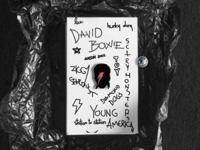 David Bowie Enamel Pin black paper package print pin enamel davidbowie music