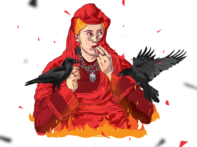Rock Girl chain hell music rock acdc girl rebel raven painting illustration motratone