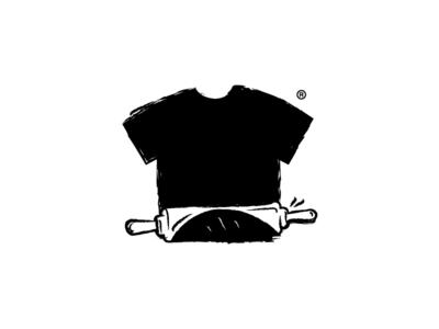 Cooking T-shirts rollerpin vector black  white print brush illustration cooking dough albania kosova tshirt symbol logo