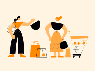 Out Shopping for Groceries character draw product illustration shopping people shape shape characters illustration
