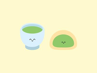 Pair of Matcha cute illustrator greentea buns character food illustration dessert matcha