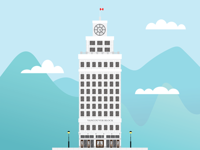 Vancouver Block windows tower clouds travel vancouver illustration vancouver mountains illustrator illustration building illustration building