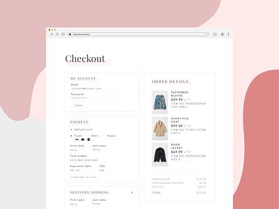 Web Checkout Screen details money cart payment shopping clothes webdesigner mockup website webdesign web checkout process checkout page checkout form checkout design