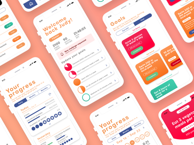 Carrot App Redesign points history points tabs tab design challenges toast notification card step goal app home screen app dashboard data graphs tracking fitness app concept app design redesign app carrot
