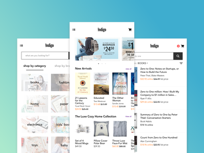 Screens for Indigo App Redesign deals checkout cart price cost shop by category category search bar search list retail mobile store online store bookstore books redesign concept app redesign