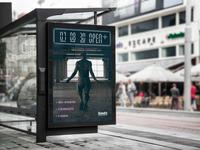 Bus Stop Digital Countdown Clock Display Mockup