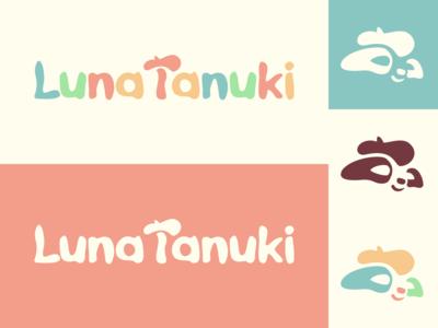 LunaTanuki logo beret tanuki multicolored illustrator flat  design design logo illustration vector