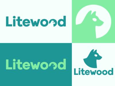 Litewood logo vector flat design branding logo logotype wolf dog