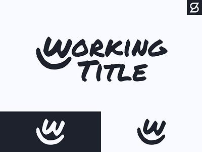 Working Title Logo letter w smile bw black and white icon typography illustrator design logo vector