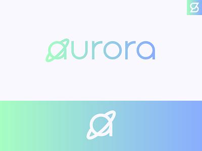 Aurora logo space typography branding saturn planet design logo vector