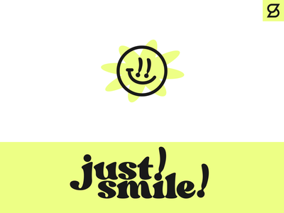 just! smile! logo concept typography exclamation point flower smileyface smile branding logo
