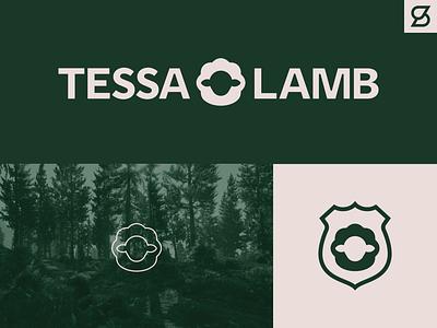 Tessa Lamb logo concept silhouette forest park ranger sheep lamb branding logo vector