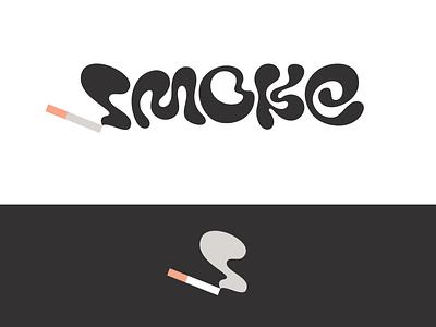 Peachtober day 2: Smoke wordmark lettermark typography peachtober inktober smoking smoke cigarette icon branding design vector logo
