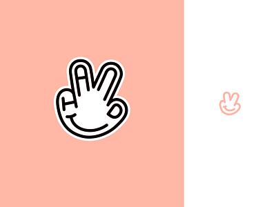 Peachtober day 4: Hand sticker inktober peachtober palm finger hand typography branding illustrator vector logo