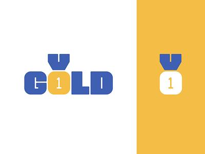 Peachtober day 11: Gold 1 one medal gold lettermark typography branding design logo