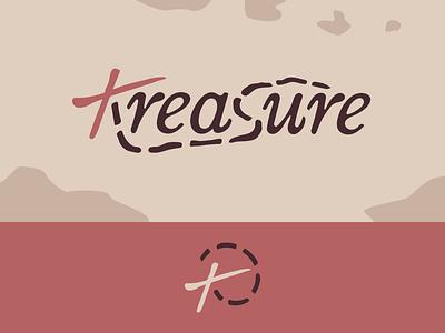 Peachtober day 13: Treasure dotted line x map pirate treasure typography design branding vector logo