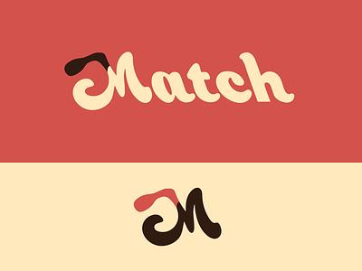 Peachtober day 18: Match fire match wordmark typography branding vector logo