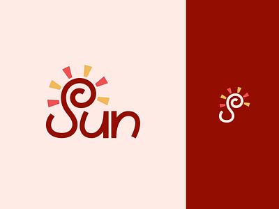 Peachtober day 21: Sun peachtober inktober summer sunshine sun branding wordmark lettermark typography flat  design vector logo