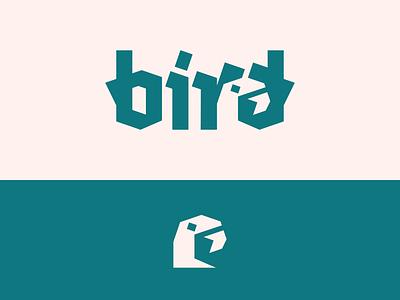 Peachtober day 24: Bird peachtober inktober blackletter beak silhouette bird design negative space typography branding logo