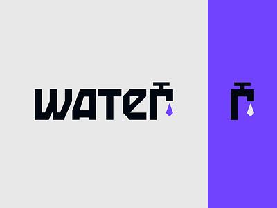 Peachtober day 25: Water inktober peachtober water drop water faucet spigot typography branding vector logo