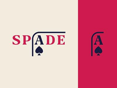 Peachtober day 27: Spade vegas casino gambling spade playing cards card inktober peachtober wordmark typography branding vector logo