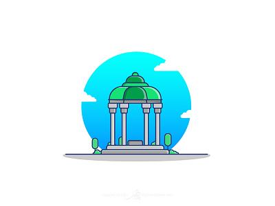 Tomb Of Hafez گرافیک شیراز سعدی حافظ ایران iran tourism shiraz tomb hafez illustration design vector flat illustrator illustration art graphic art illustration adobe design