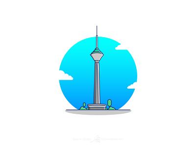 Milad Tower ایران تهران برج میلاد iran tehran milad tower tower milad flat vector illustrator art illustration art illustration design graphic illustration adobe design