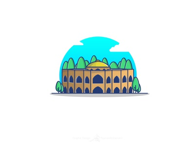 El Goli Building ائل گلی تبریز ایران tabriz tourism iran abstract vector flat illustration art art graphic illustration adobe design