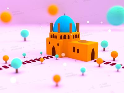 Dome of Soltaniyeh design illustration سلطانیه زنجان ایران zanjan iran art graphic branding adobe dimension render graphic design 3d