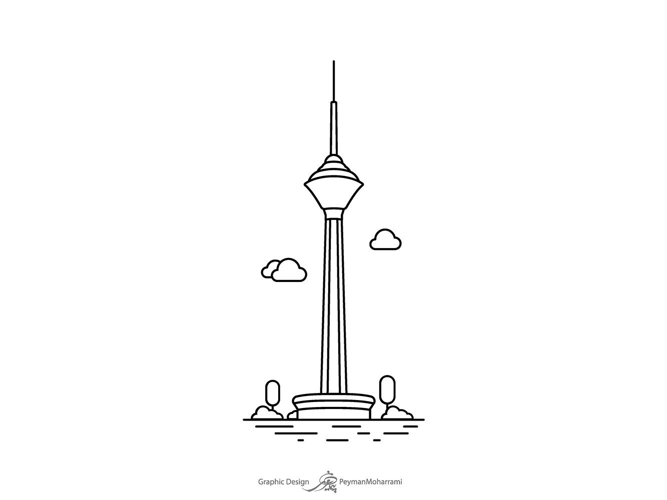 Milad Tower برج میلاد milad twer tower bridge icon abstract vector illustration design illustration agency illustrator tower illustration art graphic flat logo art illustration design adobe